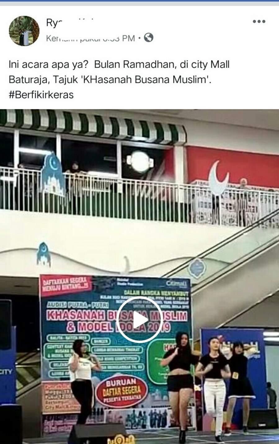 Pasca Viral Video Dancer Dalam Event Khasanah Busana Muslim dan Model Idola 2019, Begini Klarifikasi Pihak Eo Dan manajemen Citimall